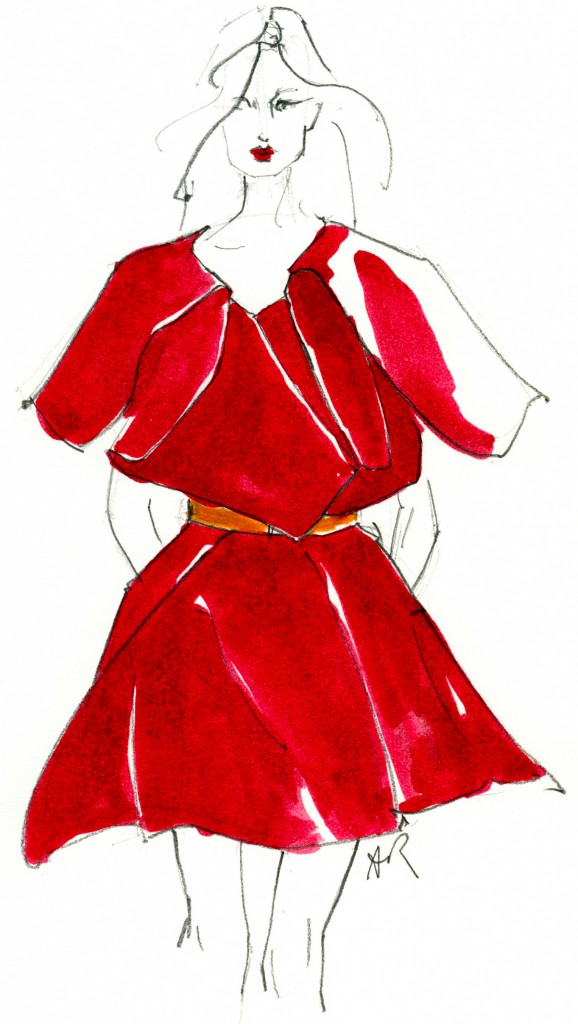 patsyfox stella red dress illustration