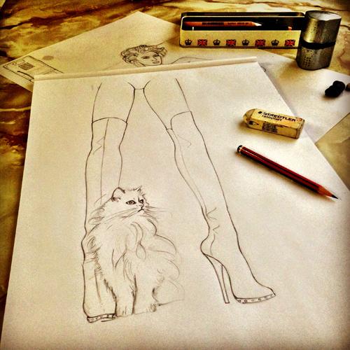 Gucci kitten sketch