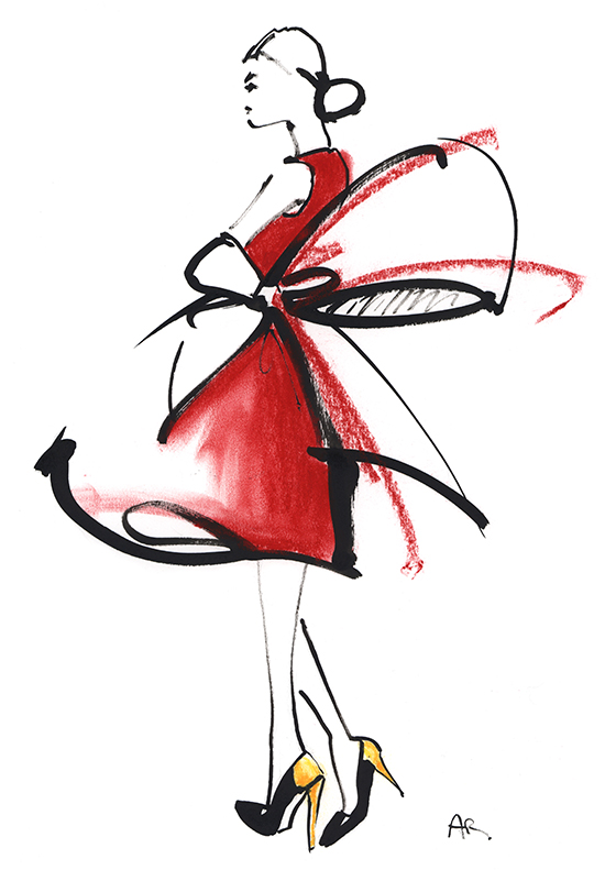 Red_dress_pastels_fashion_illustration