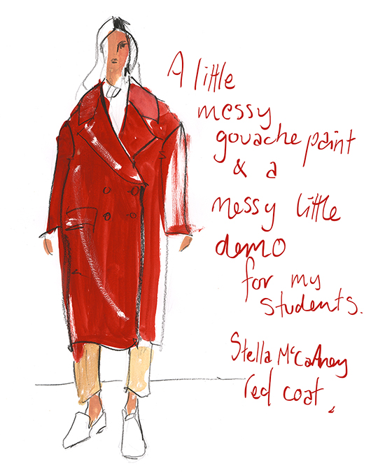 gouache_Stella_McCartney_red_coat_illustration