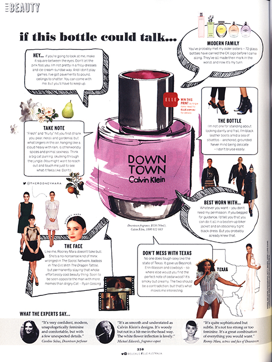 Elle magazine CK Downtown fragrance