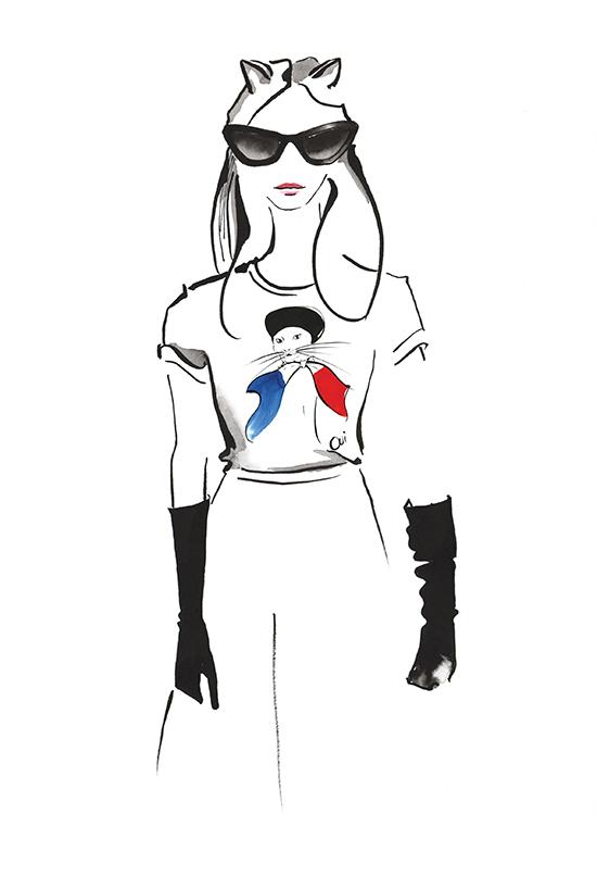 French_cat_t-shirt_print