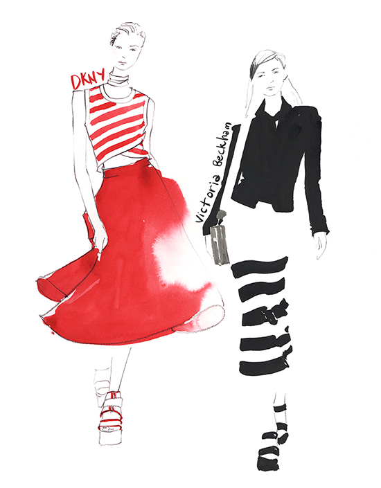 New_York_Fashion_week_DKNY_Victoria_Beckham_illustration