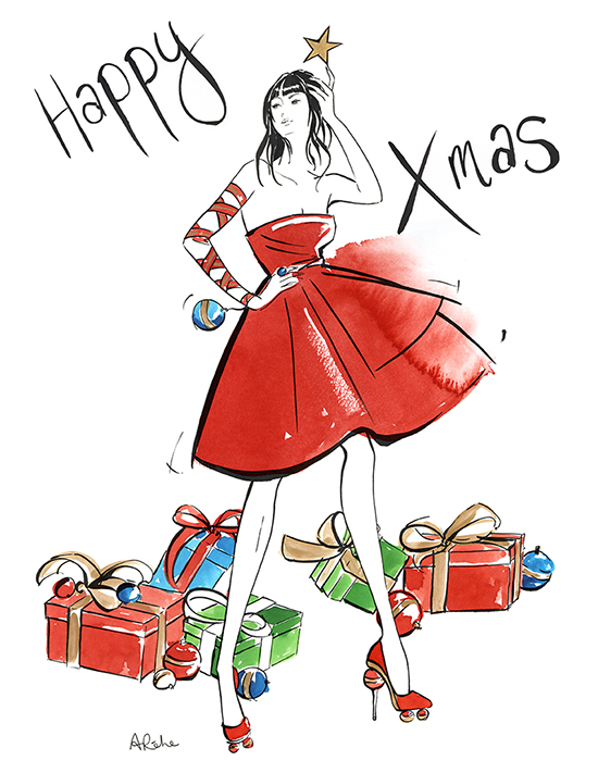 Angie_Rehe_fashion_illustration_Xmas_card