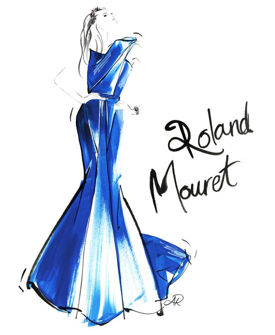 Roland_Mouret_cobalt_blue_dress_fashion_illustration_gouache_paint