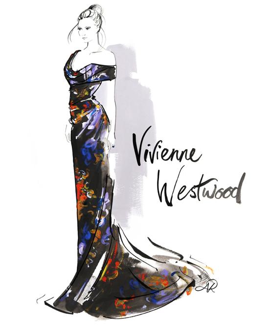 Vivienne_Westwood_floral_print_dress_fashion_illustrator
