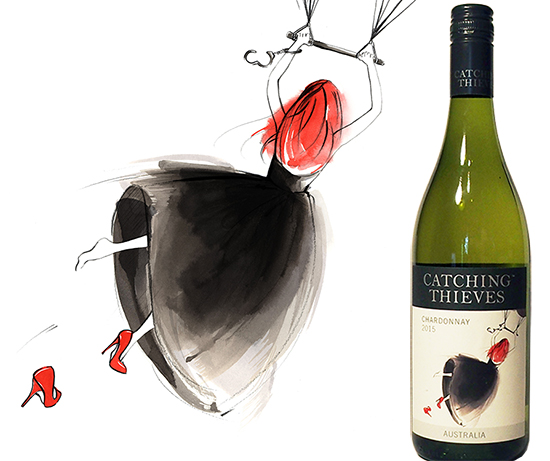 Catching_thieves_wine_label_illustration_chardonnay