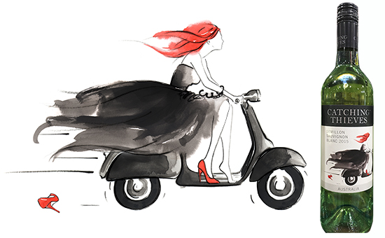 Catching_thieves_wine_label_illustration_scooter