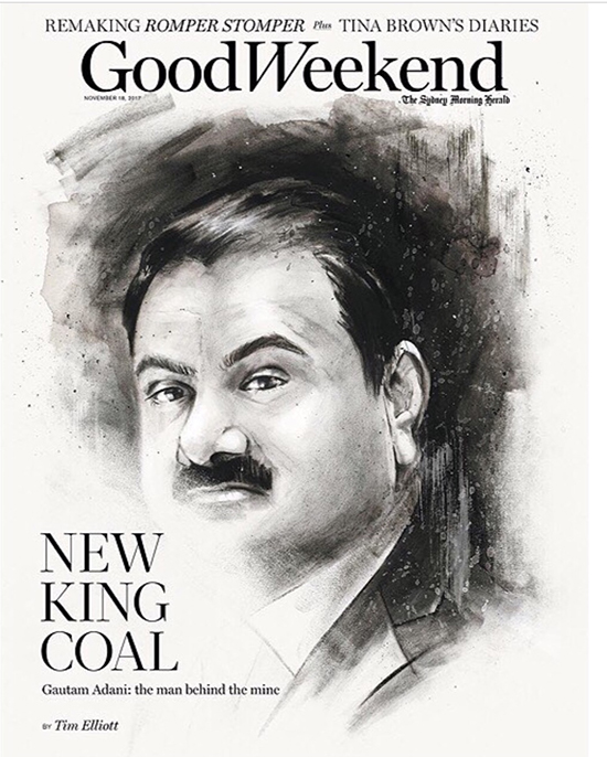 Adani-portrait-charcoal-Good-Weekend-cover