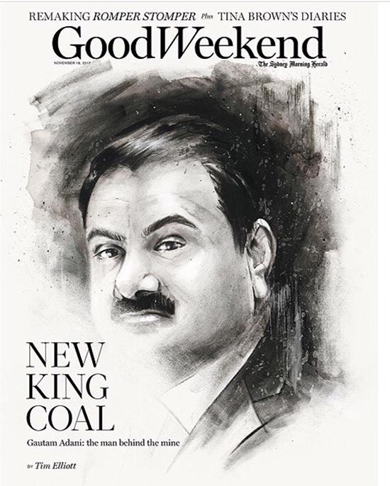 Adani-portrait-charcoal-Good-Weekend-cover