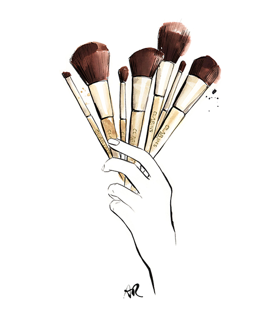 Clarins-make-up-brushes-illustration