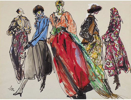 Eight female models in fall coats from different French fashion houses Kenneth Paul Block (American, 1925–2009) March 4–11, 1991 Watercolor and charcoal on watercolor board * Gift of Kenneth Paul Block, made possible with the generous 